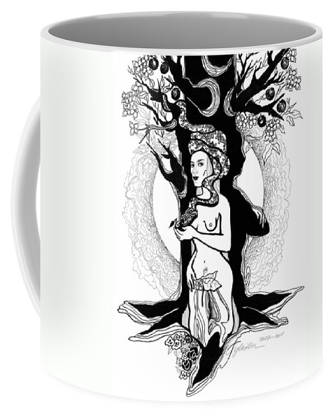 Woman Coffee Mug featuring the drawing Eve by Yelena Tylkina