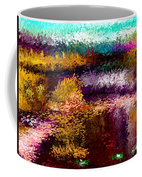 Abstract Coffee Mug featuring the digital art Evening At The Pond by David Lane