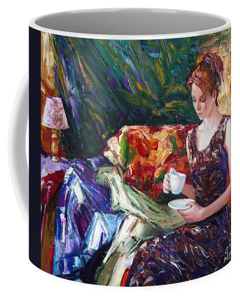 Figurative Coffee Mug featuring the painting Evening Coffee by Sergey Ignatenko