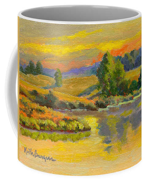 Landscape Coffee Mug featuring the painting Evening Color by Keith Burgess