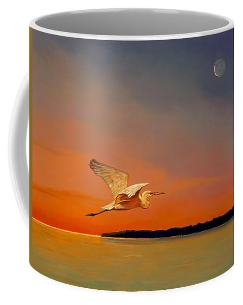 Shore Bird Coffee Mug featuring the painting Evening Flight by David Van Hulst
