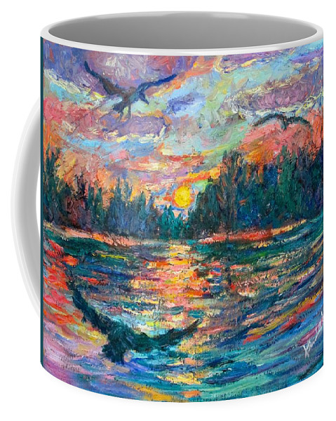 Landscape Coffee Mug featuring the painting Evening Flight by Kendall Kessler