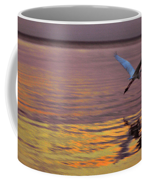 Heron Coffee Mug featuring the photograph Evening Flight by Susanne Van Hulst