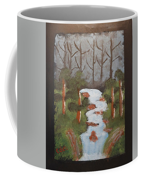 Waterfall Coffee Mug featuring the painting Evening Forest Waterfall by Caleb Berkeley