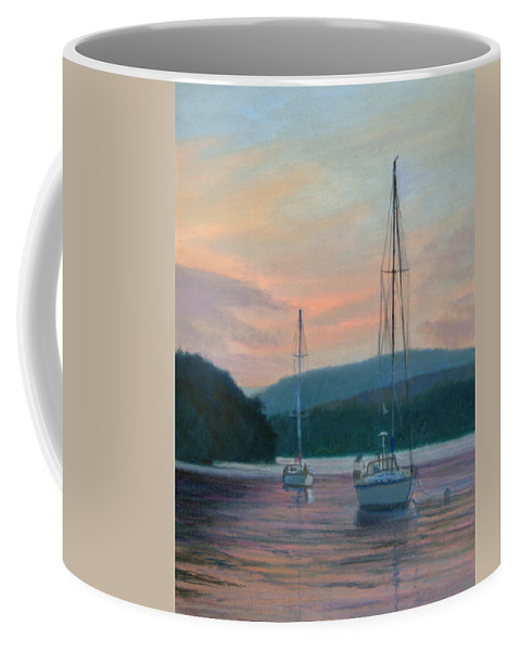 Landscape Coffee Mug featuring the painting Evening Glow Hudson River by Phyllis Tarlow
