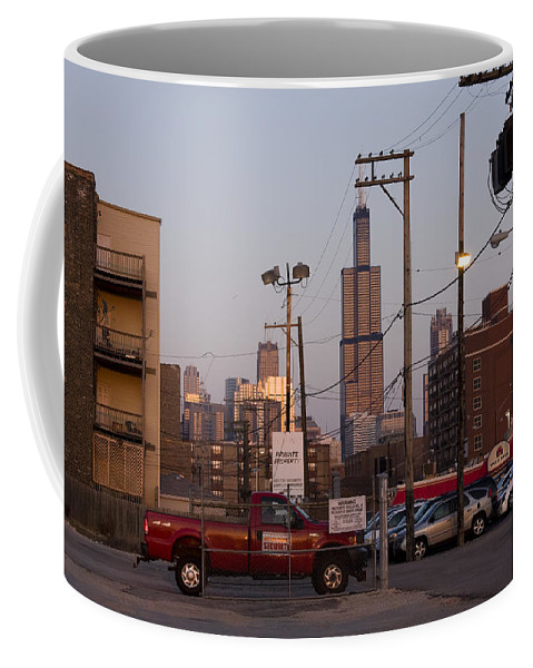 Chicago Car Windy City Tower Urban Tall High Building Skyscraper Coffee Mug featuring the photograph Evening In Chicago by Andrei Shliakhau