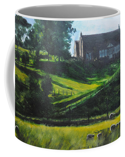 Landscape Coffee Mug featuring the painting Evening in North Wales by Harry Robertson