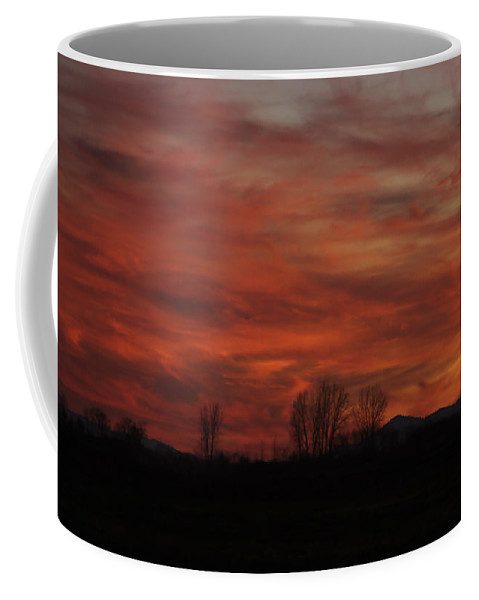 Sunset Coffee Mug featuring the photograph Evening In Red by Deborah Benoit