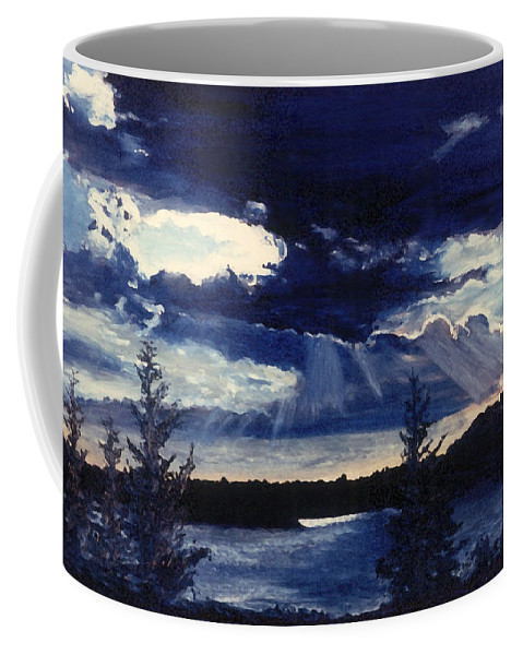Landscape Coffee Mug featuring the painting Evening Lake by Steve Karol