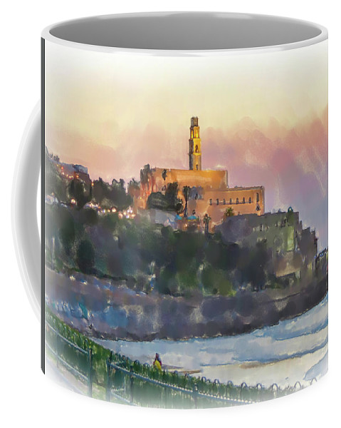 Jaffa Coffee Mug featuring the painting Evening Mood In Jaffa by Harald Hillemanns