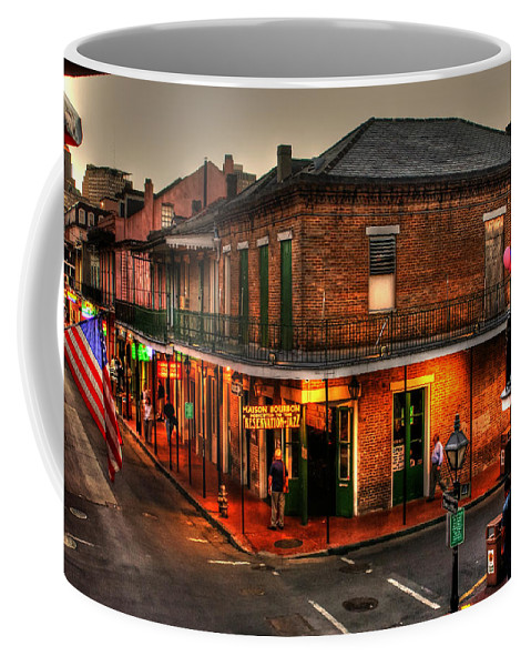 New Orleans Coffee Mug featuring the photograph Evening On Bourbon by Greg and Chrystal Mimbs