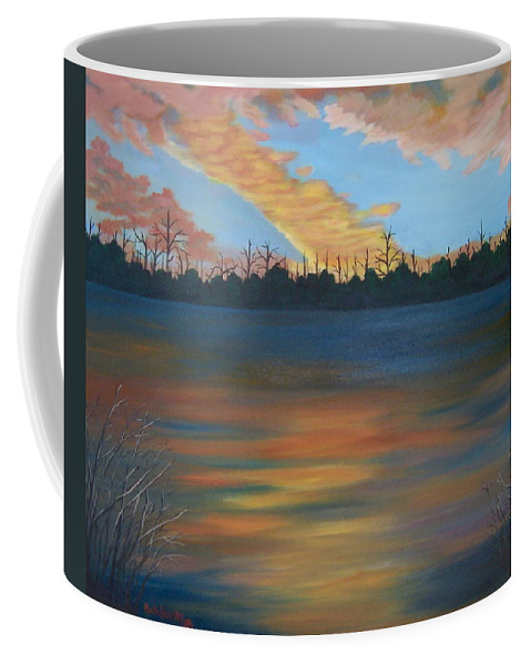Landscape Coffee Mug featuring the painting Evening Peace by Ruth Housley