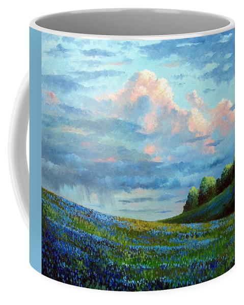Landscape Coffee Mug featuring the painting Evening Rain by David G Paul