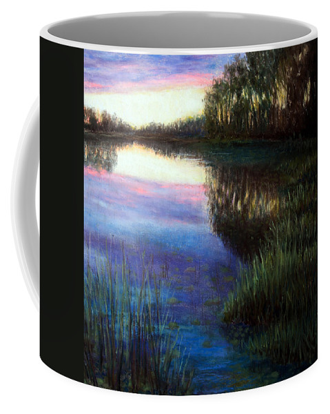 Landscape Coffee Mug featuring the painting Evening Reflection by Susan Jenkins