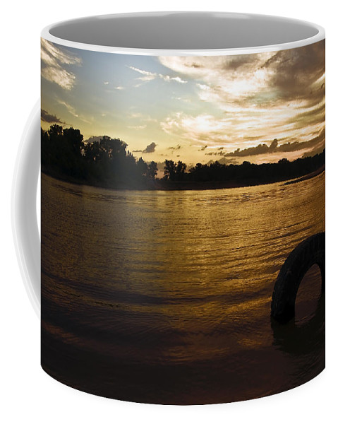 Aqua Coffee Mug featuring the photograph Evening River by Svetlana Sewell