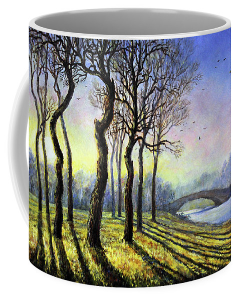 Landscape Coffee Mug featuring the painting Evening Shadows by Leonid Polotsky