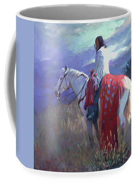 Native American Coffee Mug featuring the digital art Evening Solitude L. E. P. by Betty Jean Billups