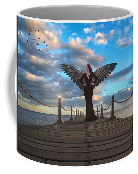 Angel Coffee Mug featuring the digital art Evening Stroll by Brainwave Pictures