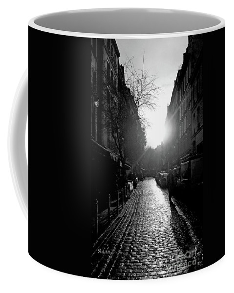 Black And White Photography Coffee Mug featuring the photograph Evening Walk In Paris Bw by Felipe Adan Lerma