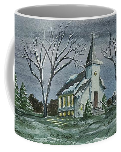 Country Church Painting Coffee Mug featuring the painting Evening Worship In Winter by Charlotte Blanchard