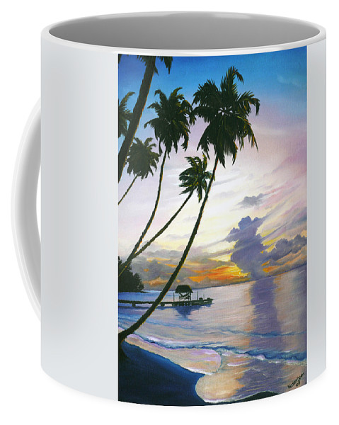 Ocean Painting Seascape Painting Beach Painting Sunset Painting Tropical Painting Tropical Painting Palm Tree Painting Tobago Painting Caribbean Painting Original Oil Of The Sun Setting Over Pigeon Point Tobago Coffee Mug featuring the painting Eventide Tobago by Karin Dawn Kelshall- Best