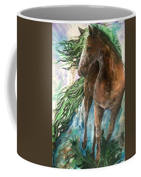 Horse Coffee Mug featuring the painting Ever Green Earth Horse by Sherry Shipley