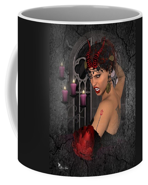 Fantasy Coffee Mug featuring the digital art Evil Beauty by Ali Oppy