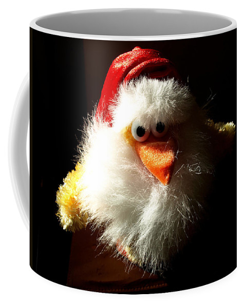 Evil; Good; Chicken; Bird; Stuffed; Animal; Fowl; Christmas; Beard; Hat; Bad; Sunshine; Barnyard; Du Coffee Mug featuring the photograph Evil Chicken by Allan Hughes