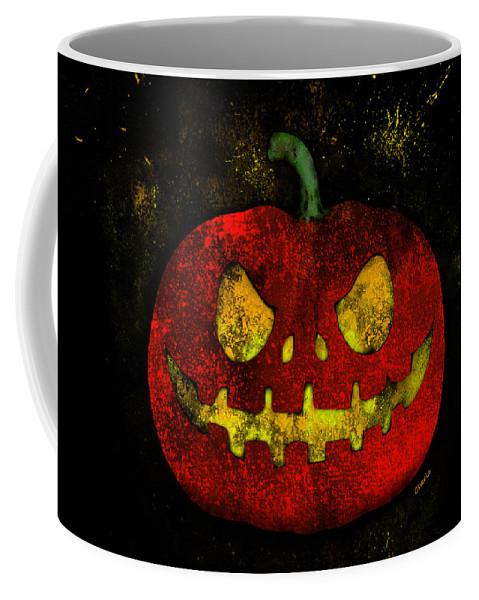 Pumpkin Coffee Mug featuring the painting Evil Halloween Pumpkin by Bamalam Photography