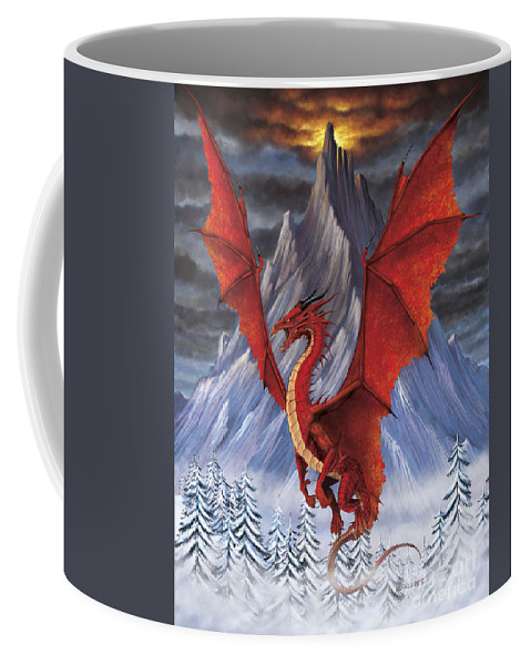 Fantasy Coffee Mug featuring the digital art Evil Red Dragon by Stanley Morrison