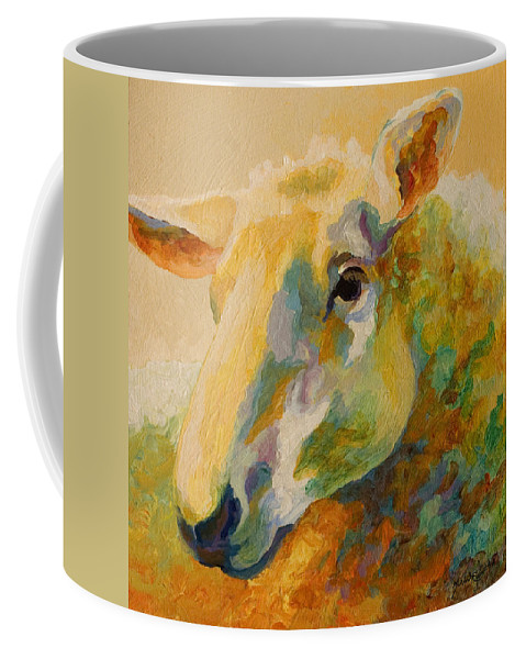 Llama Coffee Mug featuring the painting Ewe Portrait IIi by Marion Rose