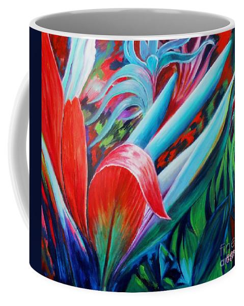 Cordyline Shrub Coffee Mug featuring the painting Exotica by Caroline Street