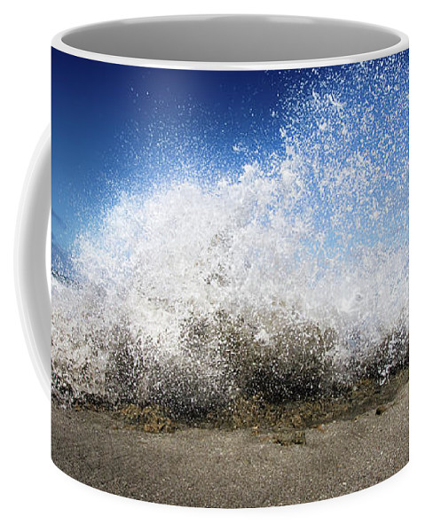 Ocean Coffee Mug featuring the photograph Exploding Seas by Mark Andrew Thomas
