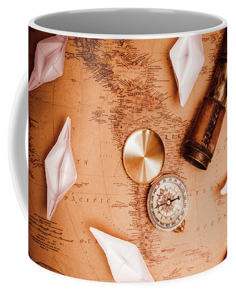 Travel Coffee Mug featuring the photograph Explorer Desk With Compass, Map And Spyglass by Jorgo Photography - Wall Art Gallery