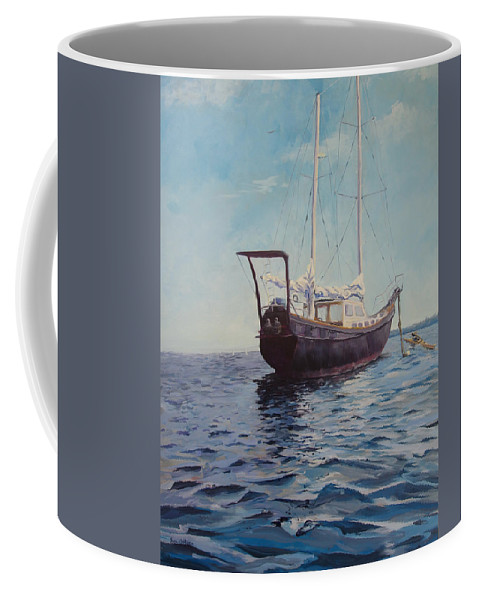 Boat Coffee Mug featuring the painting Explorer by MaryAnn Ead