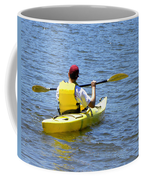 Kayak Coffee Mug featuring the photograph Exploring In A Kayak by Sandi OReilly