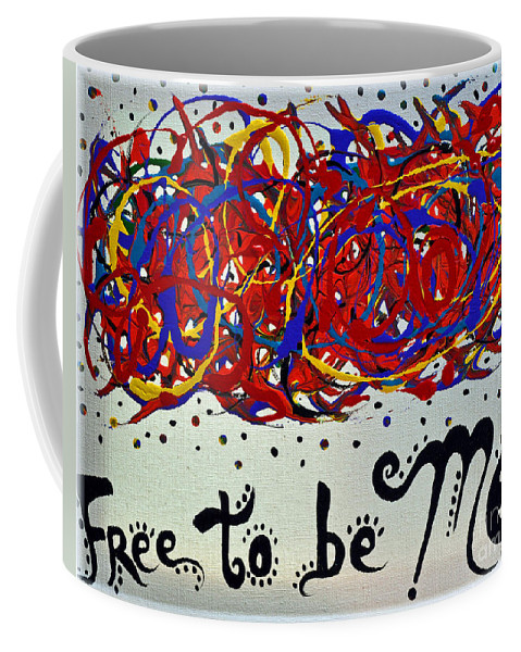 Freedom Coffee Mug featuring the painting Expression by Davids Digits