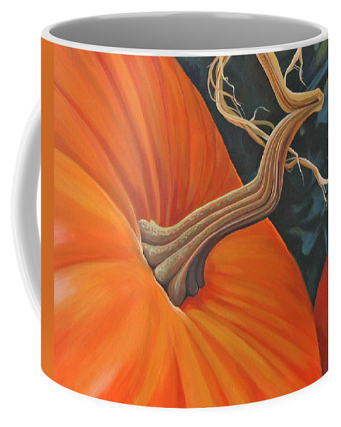Closeup Of Pumpkin Coffee Mug featuring the painting Exuberant Pumpkin by Hunter Jay