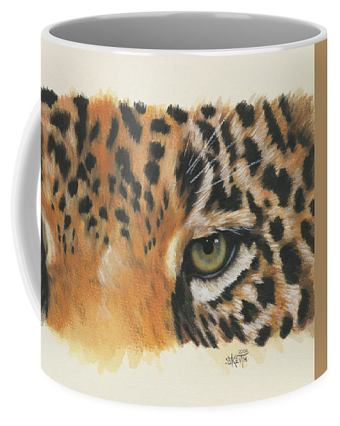 Jaguar Coffee Mug featuring the painting Jaguar Gaze by Barbara Keith