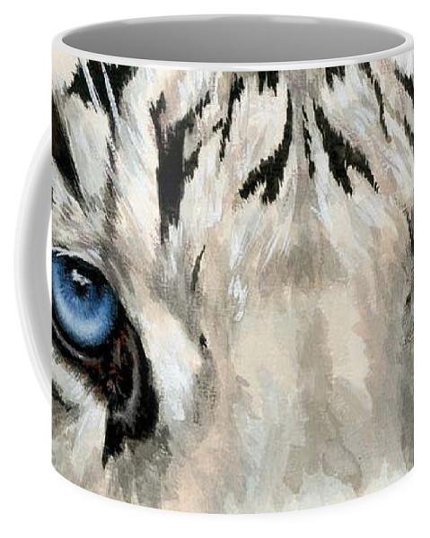Big Cat Coffee Mug featuring the painting Royal White Tiger Gaze by Barbara Keith