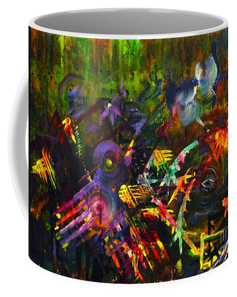 Abstract Art Coffee Mug featuring the painting Eye In Chaos by Claire Bull