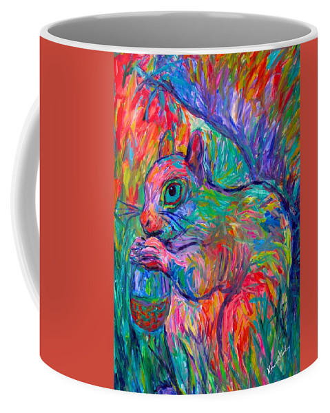 Squirrel Coffee Mug featuring the painting Eye Of The Squirrel by Kendall Kessler