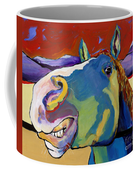 Animal Painting Coffee Mug featuring the painting Eye To Eye by Pat Saunders-White