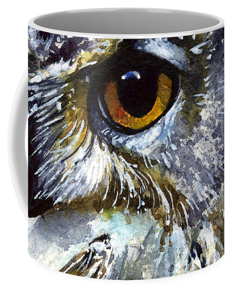 Owls Coffee Mug featuring the painting Eyes of Owls No.25 by John D Benson