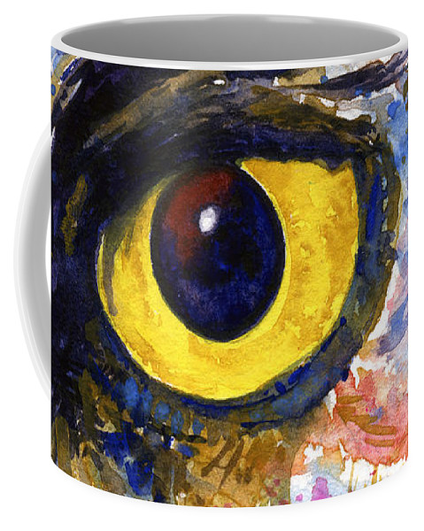 Owls Coffee Mug featuring the painting Eyes Of Owl's No.6 by John D Benson