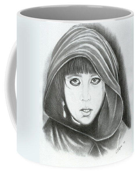 Graphite Coffee Mug featuring the drawing Eyes Of War by Lawrence Tripoli