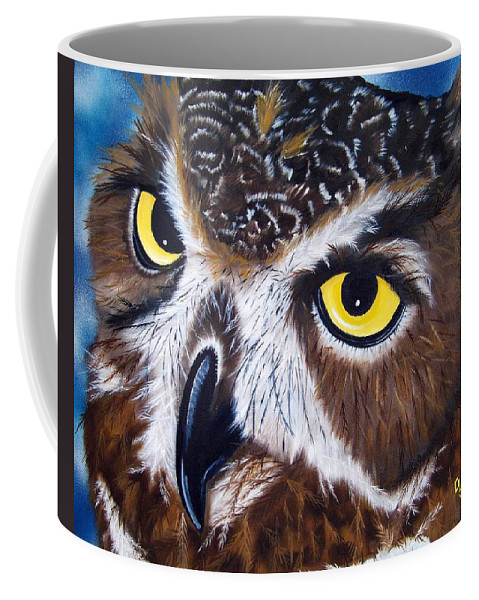 Owl Coffee Mug featuring the painting Eyes Of Wisdom by Debbie LaFrance