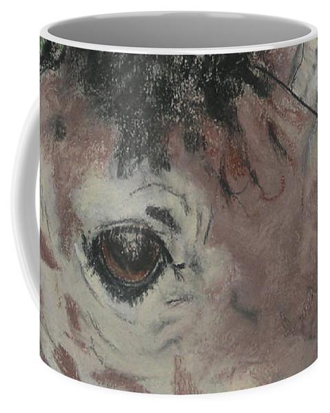 Giraffe Coffee Mug featuring the drawing Eyes On You by Cori Solomon