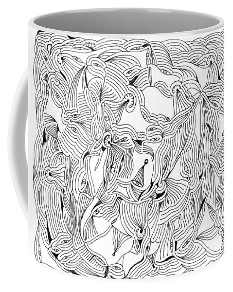Mazes Coffee Mug featuring the drawing Eyes by Steven Natanson