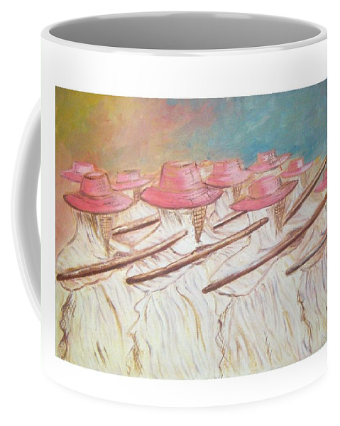 Abstract Coffee Mug featuring the painting Eyo Festival by Olaoluwa Smith